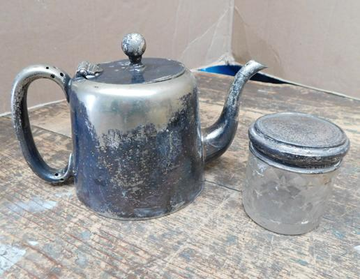 Elkington & Co. hot water jug & silver topped glass pot