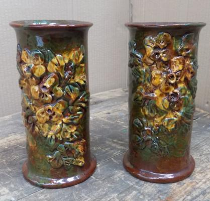 2x Studio pottery Longpack Torquay vases approx 8 inches tall (1 with crack)