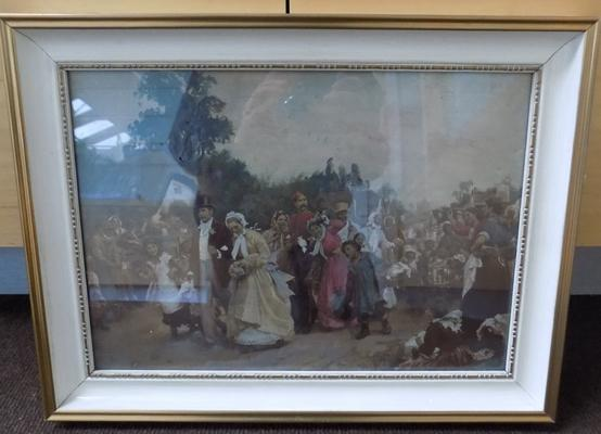Hand over painted aquatint print The Village Wedding by Sir Samuel Luke Fildes 1884-1927 approx 16.75 12.5 inches