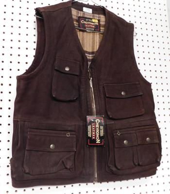 Chevignon leather gents waistcoat-size L brown