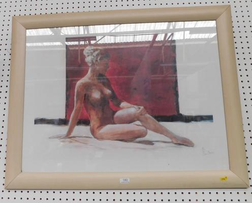 Framed pictures of nude lady signed (Landos)