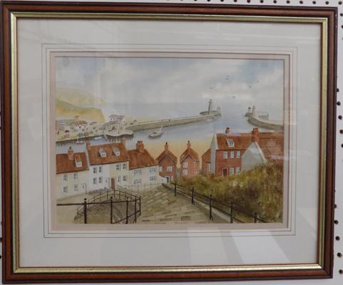 Whitby watercolour framed by Alan G Smith