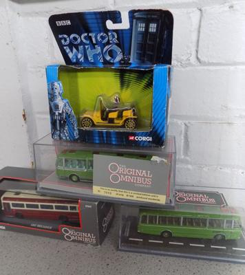 Collection of Corgi boxed diecast buses + Dr Who vehicle