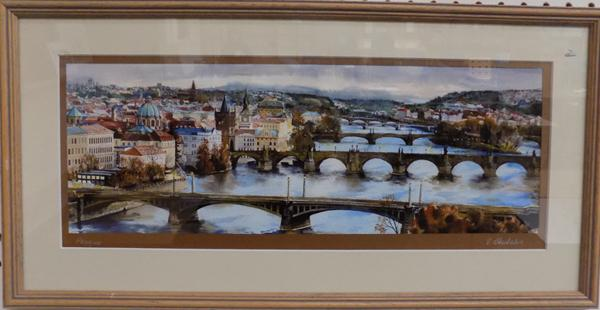 Framed original watercolour Prague by V Shukshin