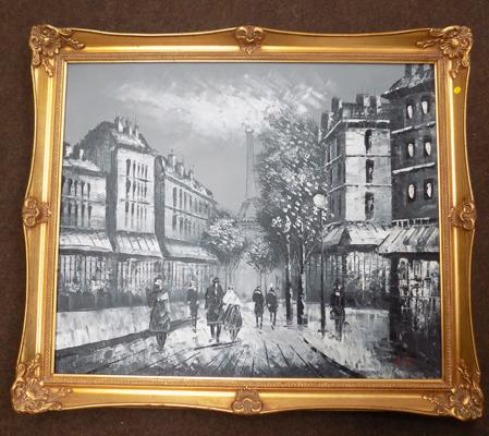 Parisian street scene signed oil on board approx 22.5 x 27.5 inches