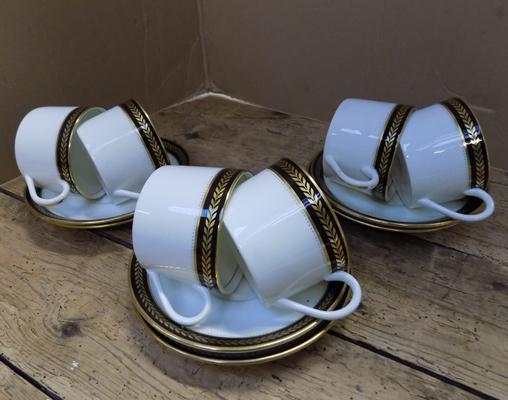 Rare Coalport Sable Wheat cups & saucers
