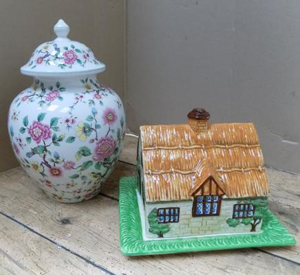 James Kent Chinese Rose storage jar with lid & Beswick cottageware cheese dish & lid-all no damage