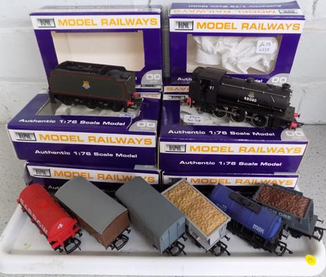 Dapol 1:76 scale model carriages with boxes-and Dapol locomotive & tender