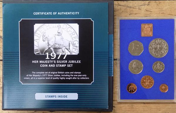 1977 Her Majestys Silver Jubilee coin & stamp set, the coins are proof & stamps mint-with certificate & boxed
