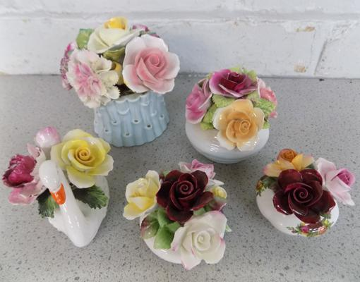 Collection of posy vases inc Radnor, Royal Albert, Royal Doulton (few small chips)