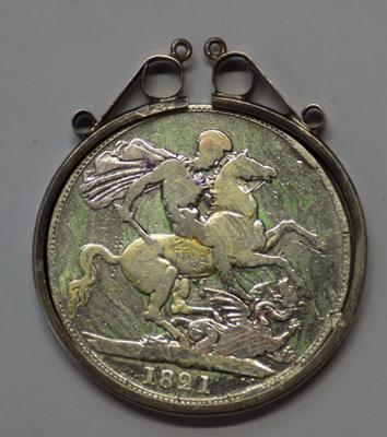 Georgian 1821 silver Crown coin, in sterling silver pendant mount