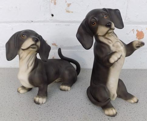 Pair of HHH Harvey Knox bisque porcelain dachshunds -approx 8 inches-no damage