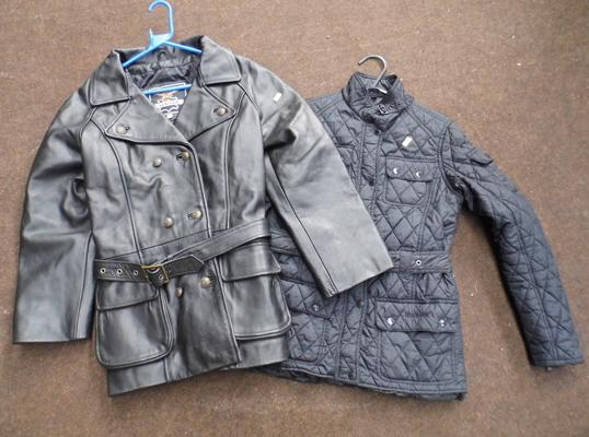 Leather jacket size XL + ladies Barbour jacket size 12