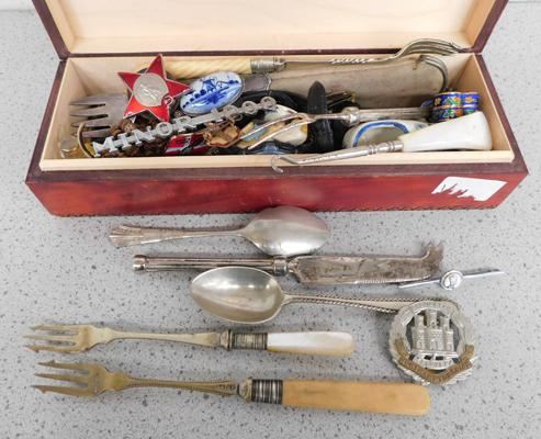 Box of collectables, incl. cap badges, silver etc...