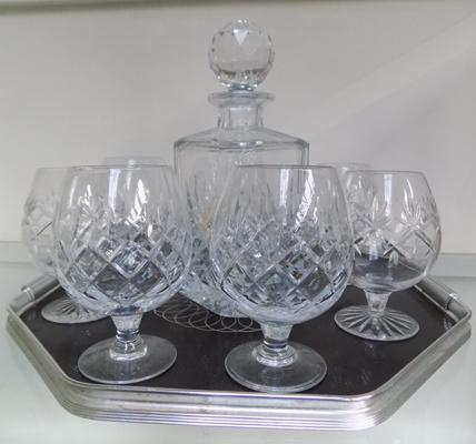 Royal Brierly (Dartington) Cut Crystal Decanter, glasses and tray