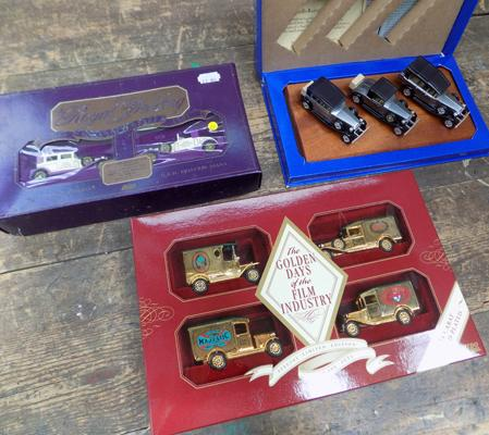 3x Diecast Lledo vehicle sets, RR, Royal Wedding & Golden days of the film industry