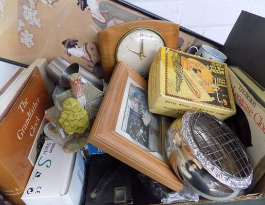 Box of vintage collectables inc; Cameras, Metalware, Ashworth, Deco Mantle clock etc.