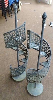 Pair of large garden spiral candle holders