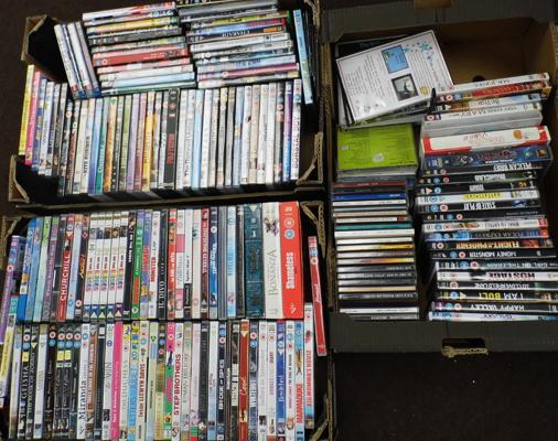 3x Boxes of assorted DVDs