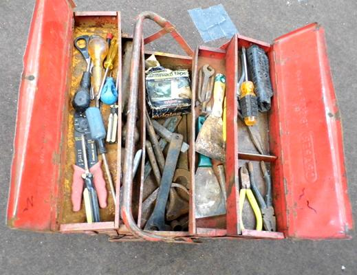 Draper cantilever tool box with various tools