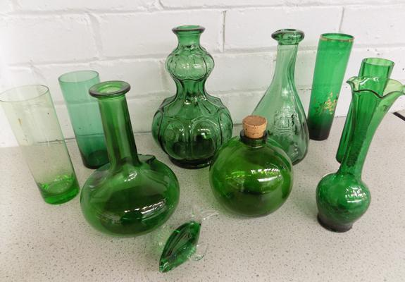 Mix of green glassware