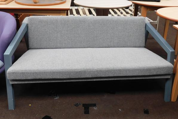 Grey framed two seater sofa, new, unused