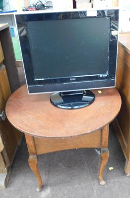 TV & DVD player w/o & round sewing machine table-satin lined