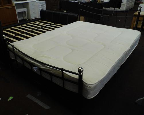 Double bed + mattress, metal frame