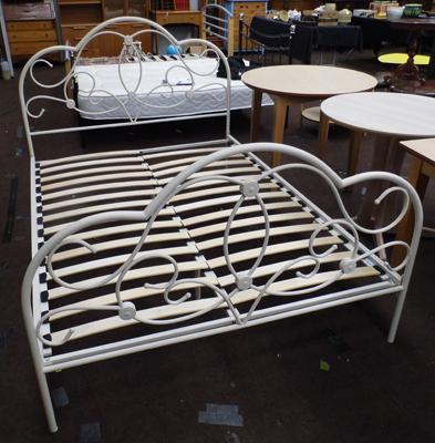 White metal bed frame with fittings-double bed size