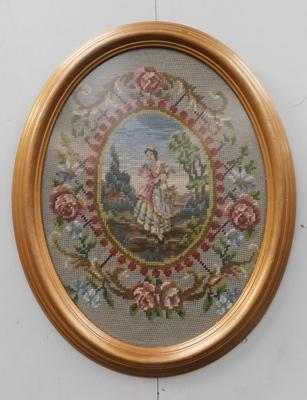 WG Lowe framed oval tapestry