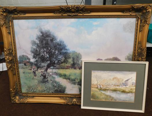 Large framed oil style print & framed watercolour