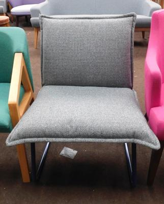 Grey reception chair with blue  metal frame, new, unused