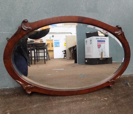 1930s Art Nouveau wooden mirror approx 19.5 x 18 inches