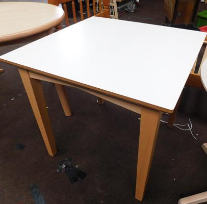 Square cream topped dining table, new, unused