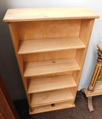 Small pine display stand with drawer