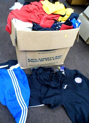 Box of 50 new child/adult sportswear-many embroidered