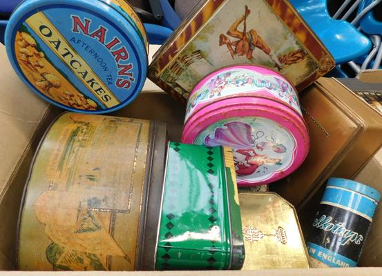 Box of assorted vintage tins