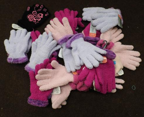 Feather touch polyester childrens warm gloves 16 pairs