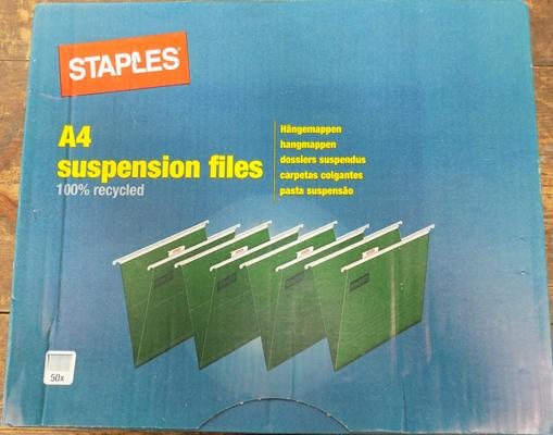 50 Staples suspension files unopened