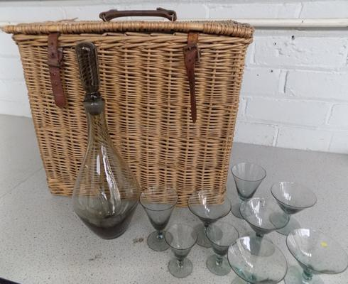 Vintage Coracle 1960s wicker picnic basket (England) with deco carafe & glasses