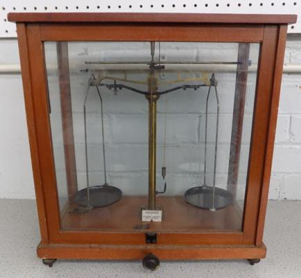 Vintage cased laboratory balance scales by George & Becker, London