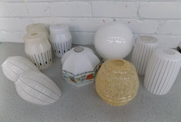 Assortment of vintage lamp shades