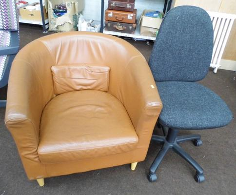 Tub chair + 1 other office chair