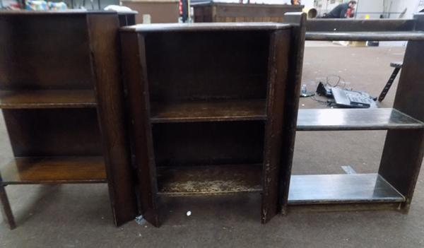 3x Vintage dark wood shelving units