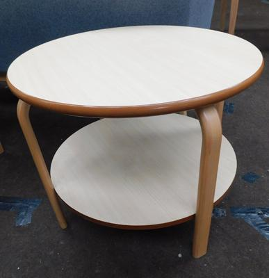 Circular occasional table with shelf, new, unused