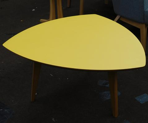 Oak trilobe coffee table with yellow top - new, unused