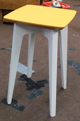 Orange topped occasional lamp table, new, unused