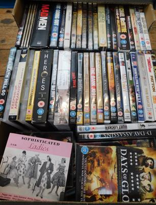 Large box of DVDs and CDs (some series included)