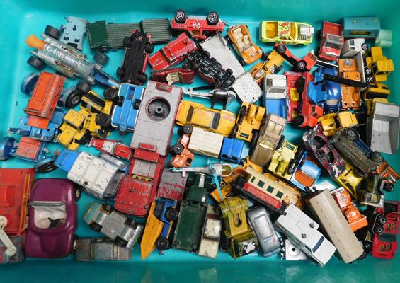 Box of mixed toys/cars various makes including Corgi, Matchbox etc.