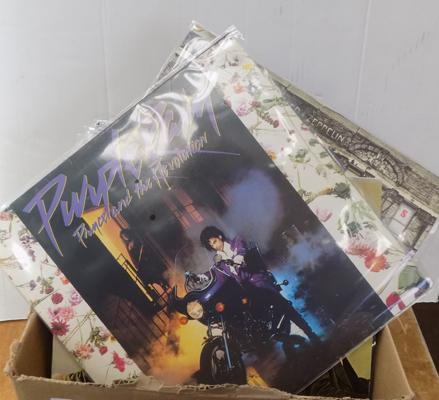 Box of LPs (30) inc Free. AC/DC, Prince, Led Zeppelin, Iron Maiden, Beatles